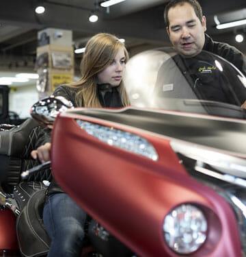 Customer testing motorcycle